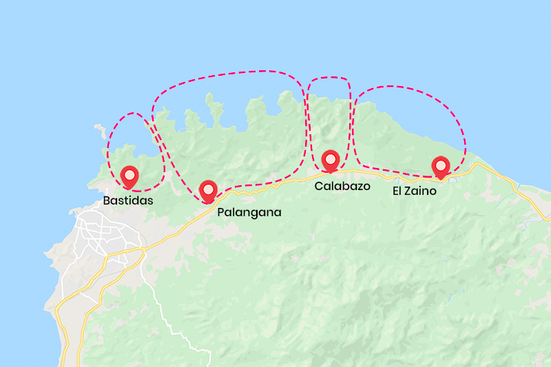 beaches in tayrona map sectors
